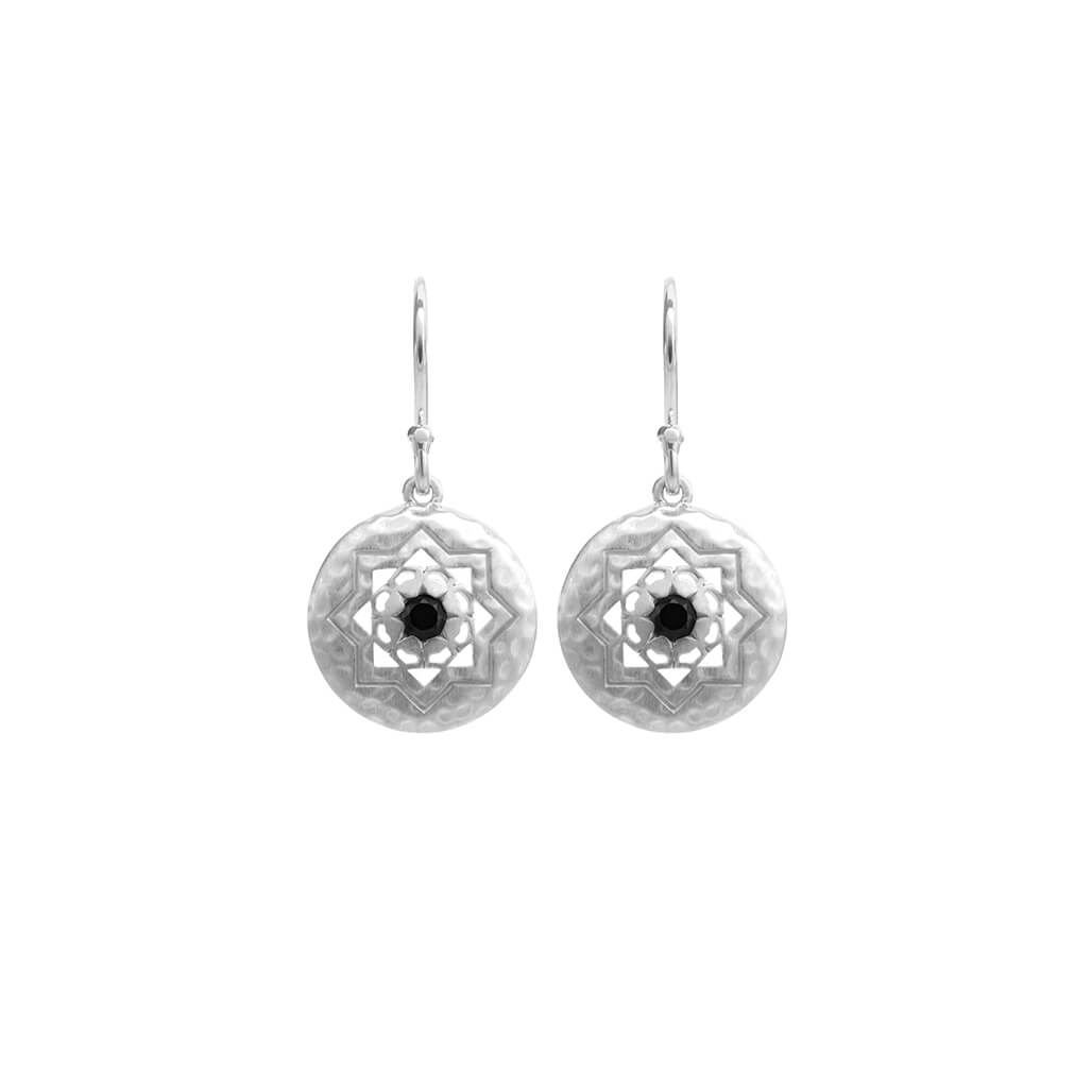 Andalusia Small Earrings With Black Spinel In Sterling Silver
