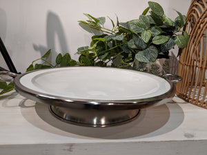 Ceramic Round Bowl  With Silver Rim