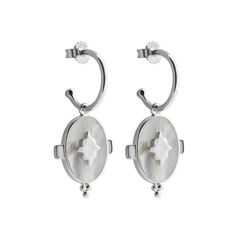 Oval Earrings With Mother of Pearl In Sterling Silver