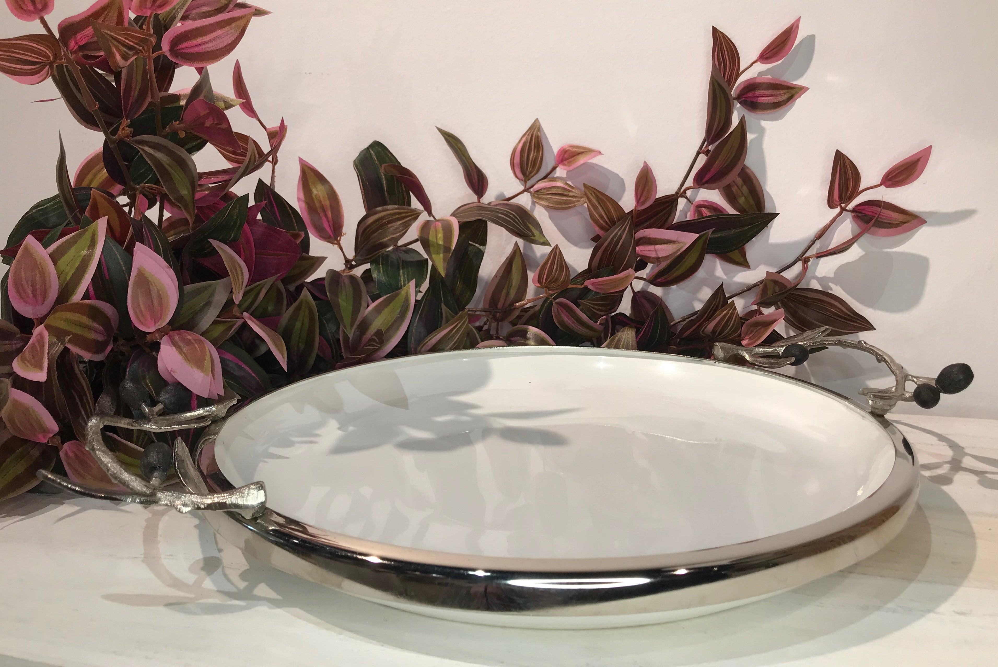 Olive Ceramic Round Plate With Silver Rim