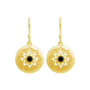 Andalusia Small Earrings With Black Spinel In 18KT Yellow Gold Plate