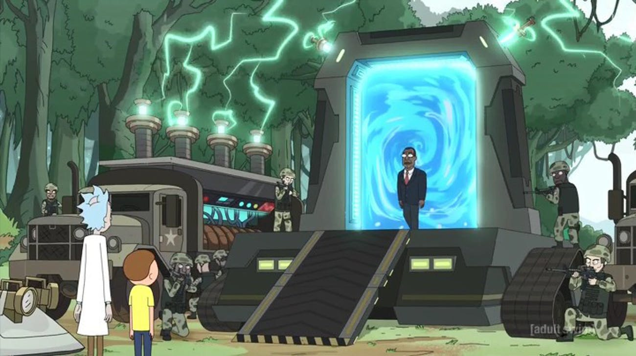 Presidenten I Rick And Morty Med Sin Klumpiga Omoderna Portal