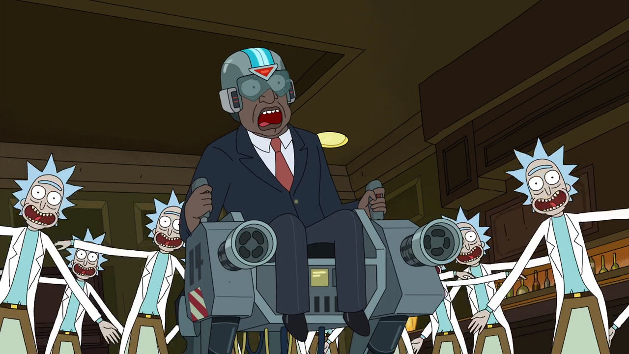 Presidenten I Rick And Morty Sittandes I En Robot Han Själv Kontrollerar I Fighten Mot Rick