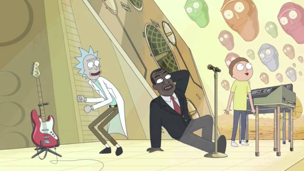 Presidenten I Rick And Morty Dansar Loss Till Låten Get Schwifty