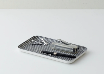 Linen Coating Tray Small Gray White Stripe