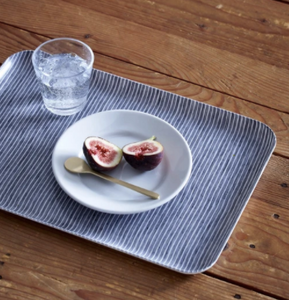 Linen Coating Tray Gray White Stripe Large