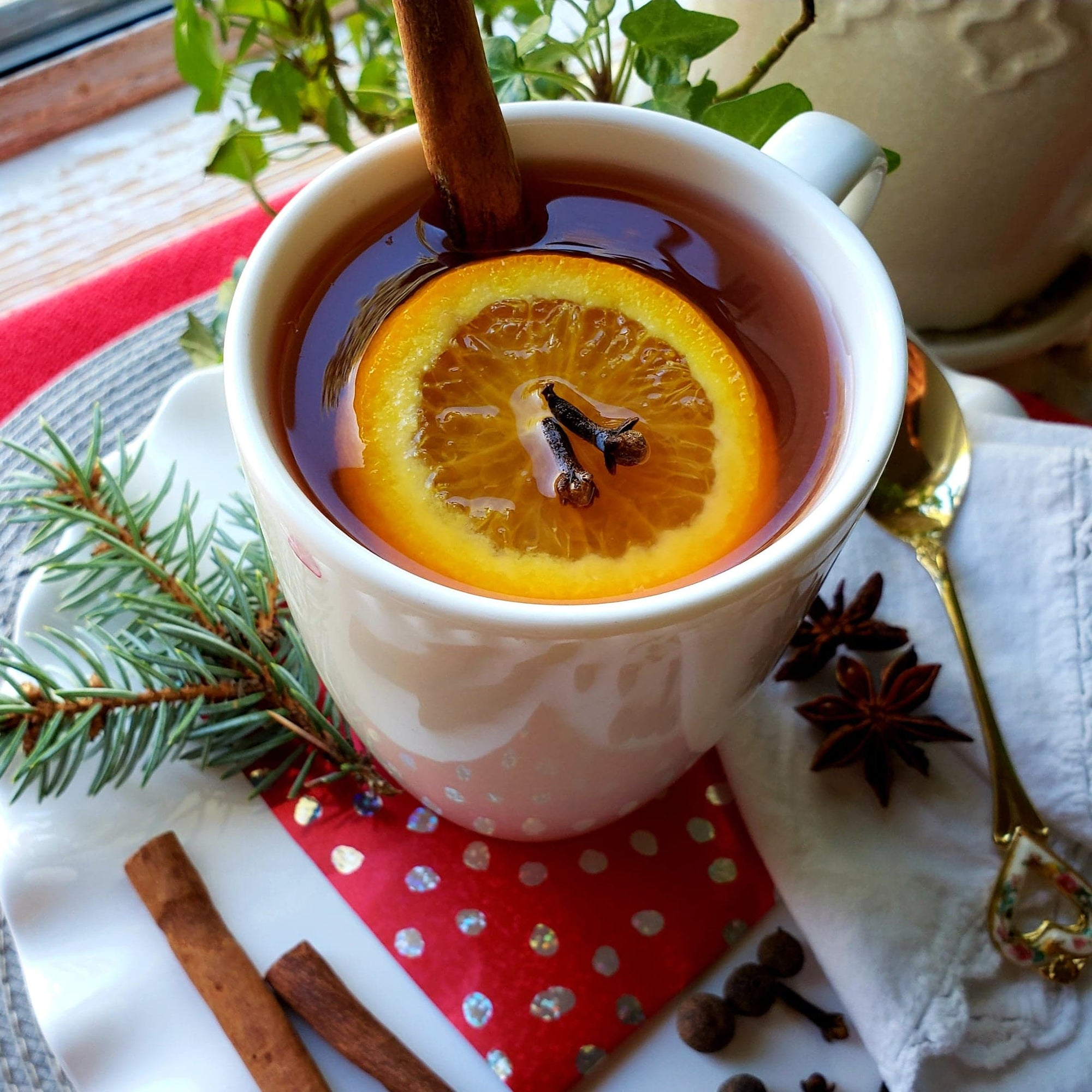 Cold and flu brew made with Christmas Clementine Clove Tea