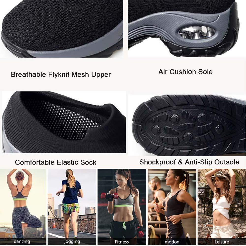 Women  Mesh Breathable Walking Fitness Shoes Shockproof Casual Slip On Shoes