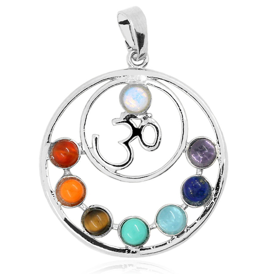 7 Chakra Reiki Stone Pendant Necklace with OM symbol