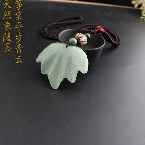 Ethnic Vintage Magnolia maple dragon Pendant J ade mala beads chain accessories brave troops pixiu initial good luck necklace