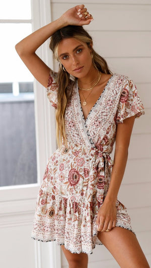 Women's Summery Floral/Ethnic Print Beach Dress