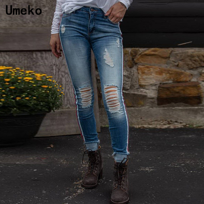 Umeko Ripped Jeans for Women Striped High Waist Skinny Distressed Jeans Denim Streetwear 2019 New Autumn Fashion Long Pants
