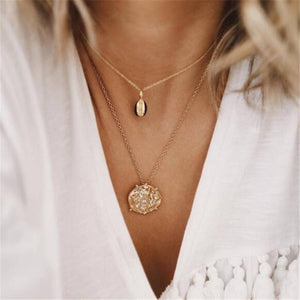 HuaTang Star Moon Pendant Necklace Boho Geometric Crystal Layered Necklaces for Women Girl Waterdrop Opal Collar Choker Jewelry