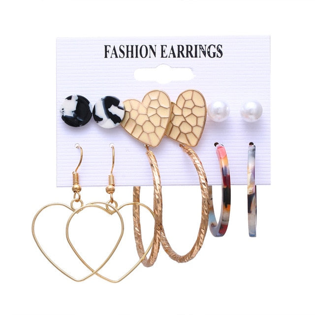 Bohemian Tassel Acrylic Earrings For Women Fashion Geometric Heart Earrings Set Imitation Pearl Earrings Boho DIY Jewelry
