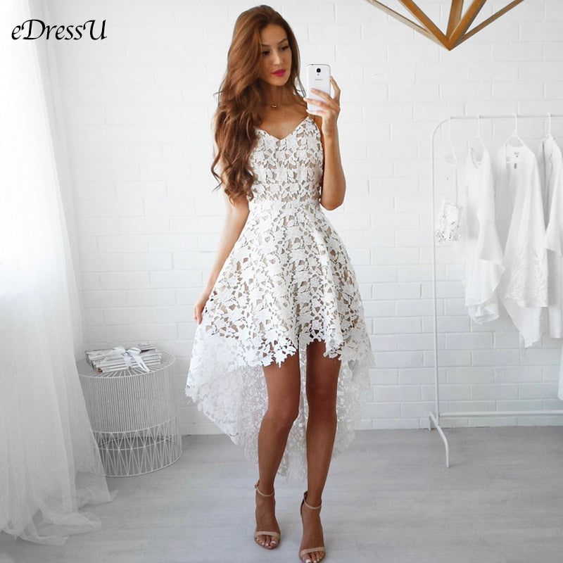 2020 Lace Summer Dress Sexy Cocktail Party Dress Boho V Neck High Low Bohemian Little White Dress Sweet Elegant Dress HP-1002
