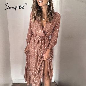 Simplee Sexy v-neck printed women ruffled dress Elegant long sleeve pleated office work sundress A-line ladies summer maxi dress