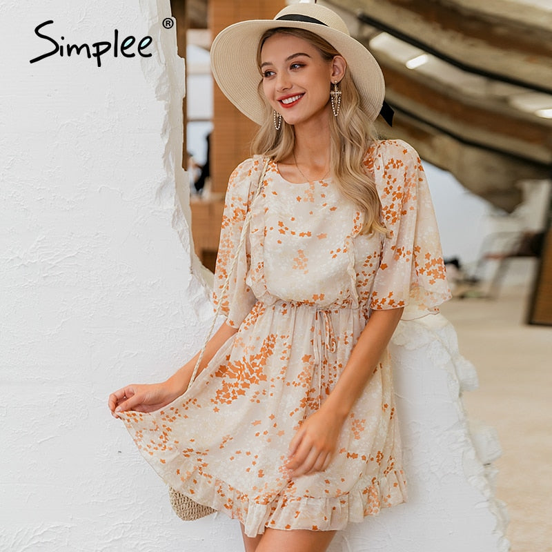 Simplee Holiday beach chiffon women summer dresses Sexy backless flare ruffles female dress Casual ladies short dress vestidos