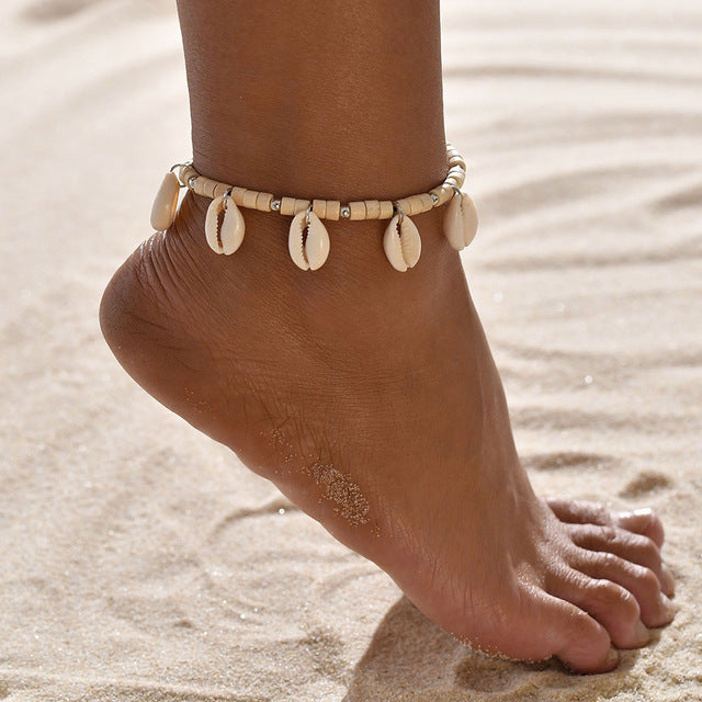 Modyle Vintage Antique Gold Color Anklet Women shell Beads Geometric Bracelet Charm Bohemian Ankle Bracelet Boho Foot Jewelry
