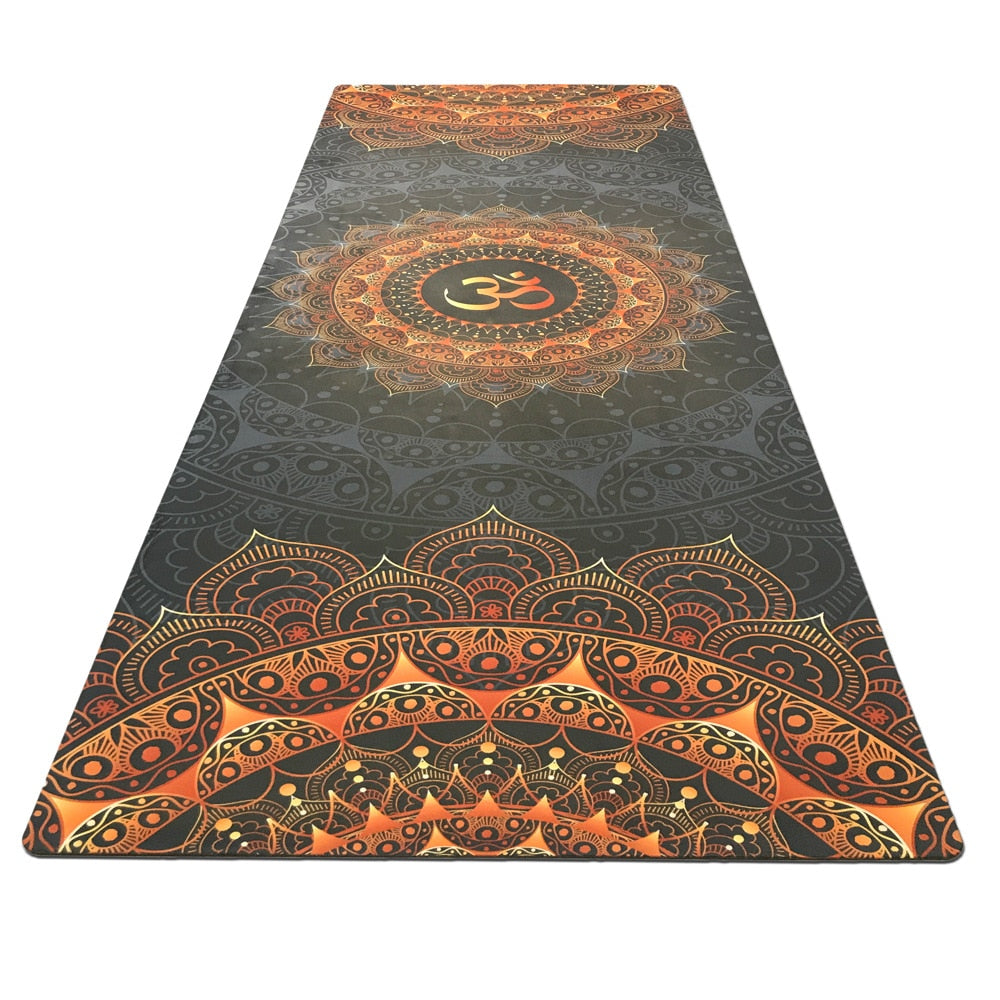 Printed rubber fitness mat sweat absorption green non-skid travel goddess mat sports floding good quality yoga mat