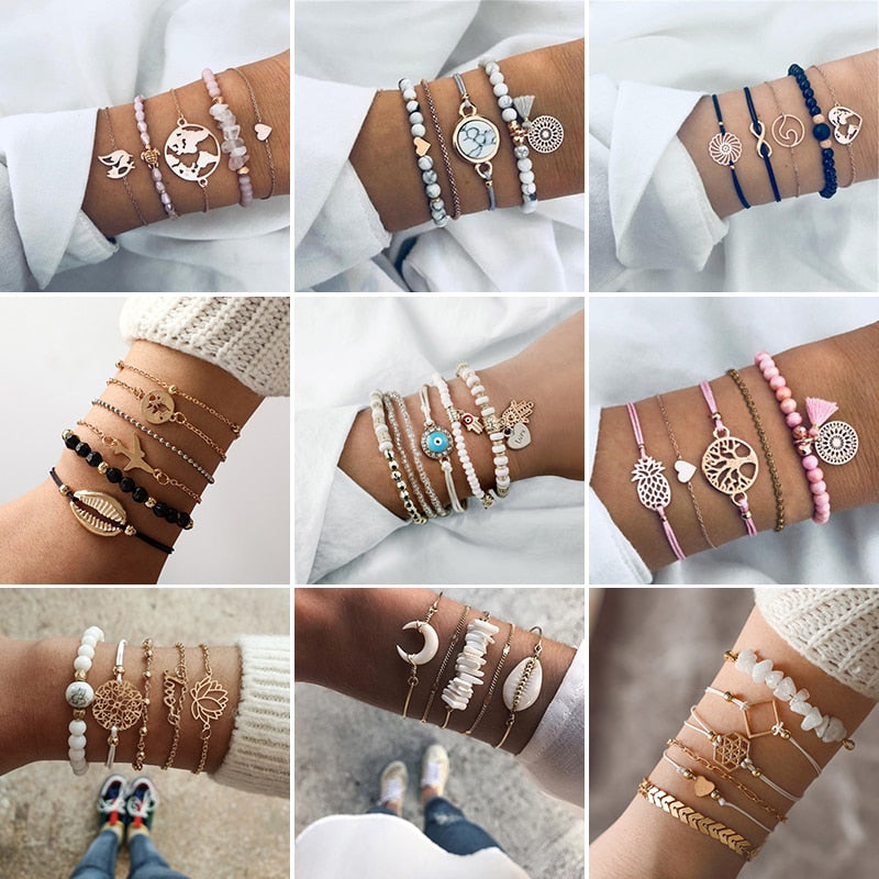 Fashion Mixed Bracelet Set Bohemian Multi-layer Beaded Bracelet Bangles For Women Vintage Bead Boho Charm Jewelry Party Gifts