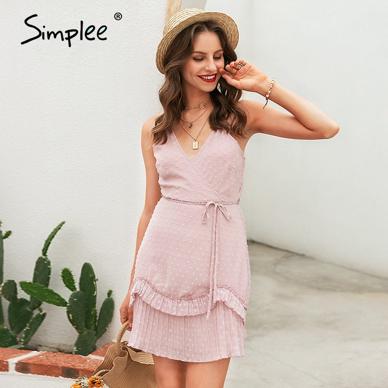 Simplee Sexy v-neck female tops Spaghetti strap   ruffled women dress  Bohemian streetwear floral print ladies summer dresses