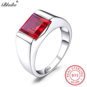 Boho Real s925 Sterling Silver Wedding Rings For Men Women Red Ruby Stone Square Zircon Engagement Ring Male Party Fine Jewelry