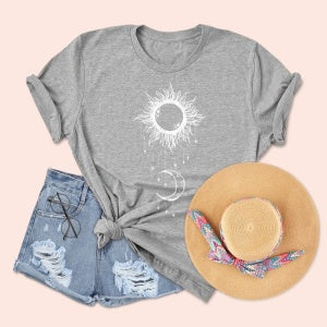 Plus Size 5XL Gray Sun Print O-neck Women's T-shirt 2020 Fashion New Casual Tees Tops Wild Women's Top Funny Tshirts Clothes