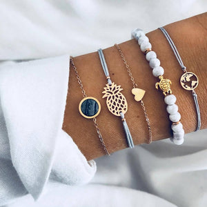 6 Pcs/ Set Women Bracelets Set Boho Gem Shell Turtle Leaf Bead Chain Leather Multilayer Bracelet Charm Lady Gold Jewelry Gift