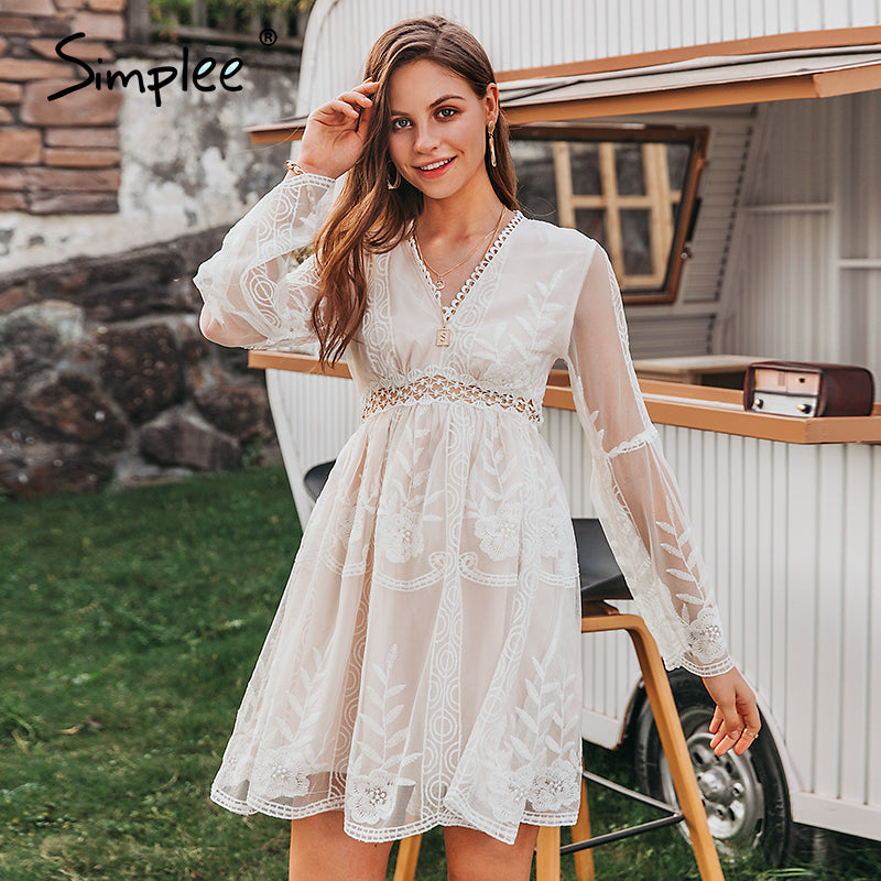 Simplee Sexy v-neck boho women summer dress Trumpet sleeve ruffle white floral female short dress A-line lace ladies mini dress