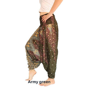 Umeko 2020 Boho Harem Pants New Women Fashion Baggy Aladdin Peacock Print Hippie Boho Pants Causal Loose Trousers Lantern Pants