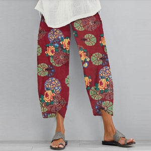 2020 Women Cotton Linen Vintage Pants Summer Elastic Waist Irregular Trousers Pantalon Casual Dandelion Print Cropped Pants 5XL