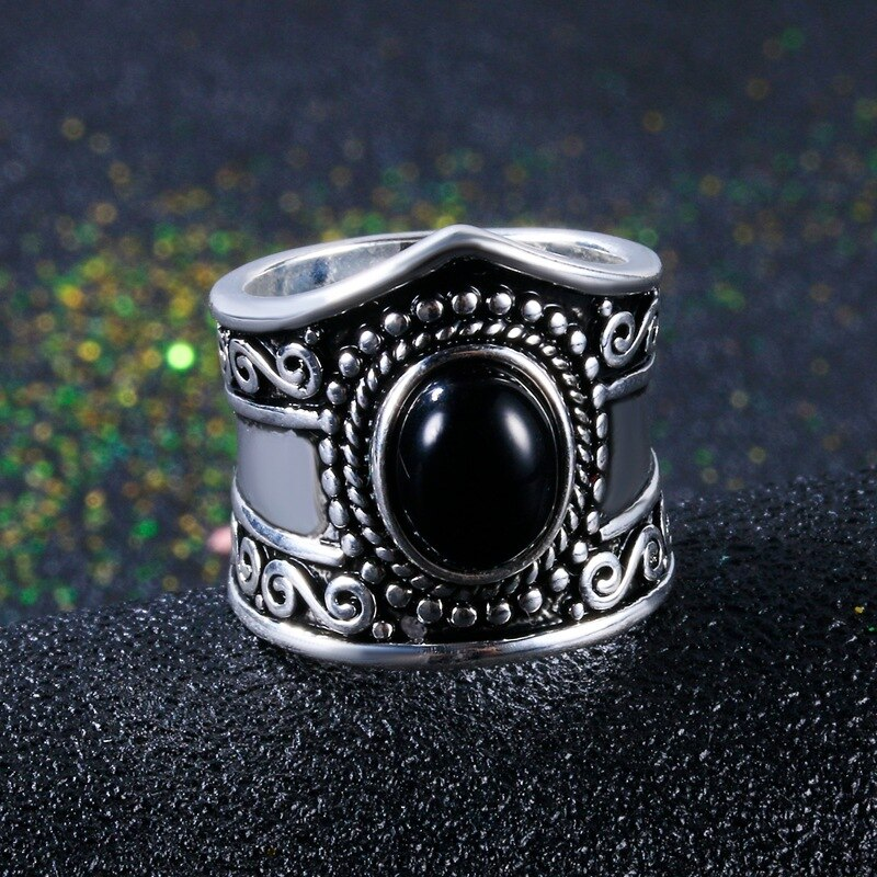 S925 Silver Color Big Crystal Rings for Women Boho Antique Indian Moonstone Ring Obsidian Fine Jewelry anillos mujer Bizuteria
