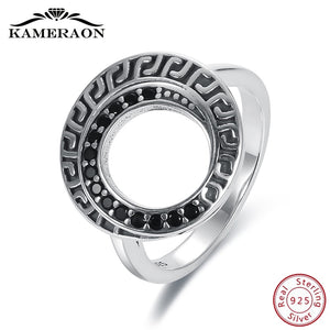 KAMERAON Fine Boho Vintage Women's Rings Sterling Silver 925 Jewelry Wide Zircon Black Diamond Ring With Stone Unique Design