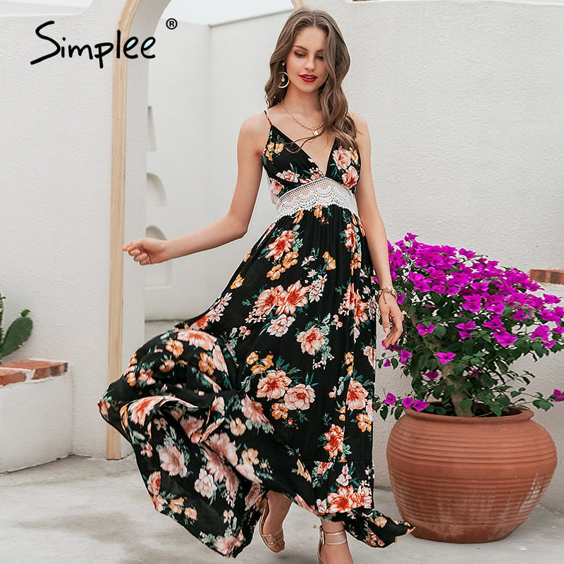 Simplee Boho print backless long summer dress Women floral deep v neck sexy dress 2018 White lace loose beach dress vestidos