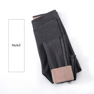2020 Autumn Winter Cotton Velvet Leggings Women High Waist Side Stripes Sporting Fitness Leggings Pants Warm Thick Leggings