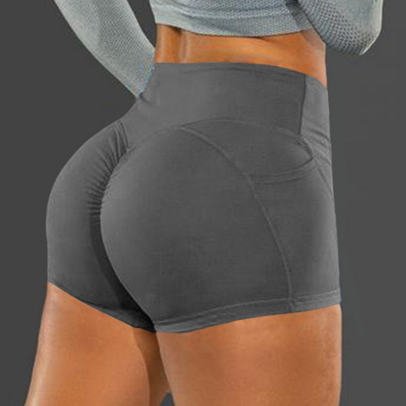 Summer Sport Shorts Women High Waist Elasticated Seamless Fitness Leggings Push Up Gym Training Gym Tights Pocket Yoga Short
