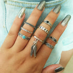 Women's Boho Ring Set - Vintage Bohemian Midi Rings