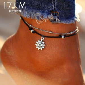 17KM Vintage Boho Multi Layer Beads Anklets For Women Fashion Sun Pendent Anklet Cotton Handmade Chain Foot Party Jewelry Gift