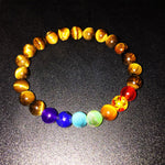 7 Chakra Bracelets - Meditation Beads of Crystal, Tiger's Eye, Volcanic Stone