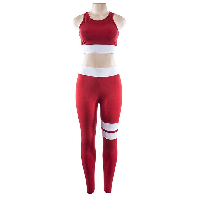 2018 Women 2 Pieces Yoga Suit Crop Tank Striped Leggings Set Polyester Female Sport Bodysuit Club Outfit Sporting Tracksuits