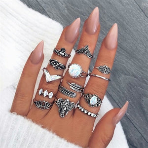 Boho 15-Piece Phalanx Ring Set - Bohemian Vintage Rings