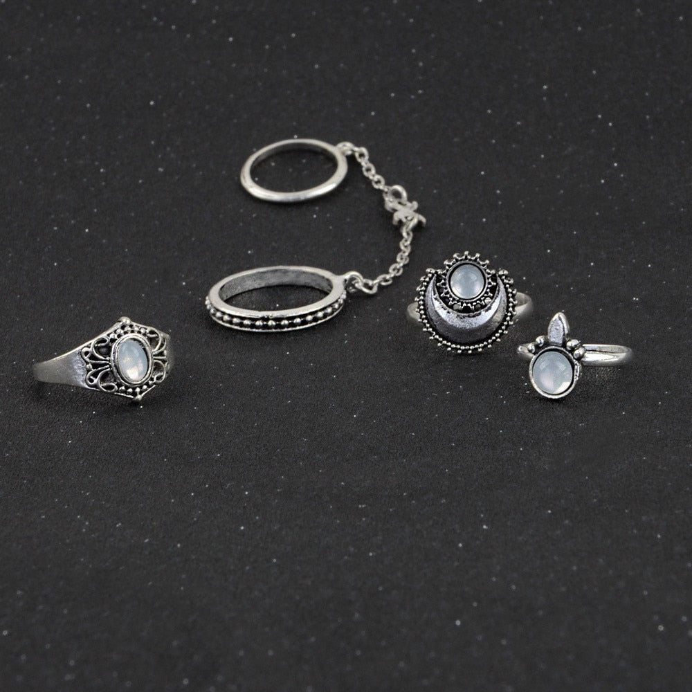 Women's Bohemian 5-Piece Midi Rings - Vintage Silver Boho Knuckle Ring Sets