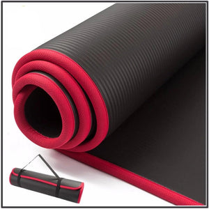 Extra Thick Yoga Mat with Carry Strap - Black - Goddess Zen