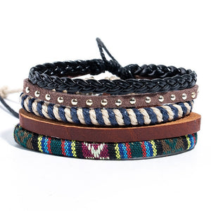 Tibetan Meditation Bracelets: Bohemian Beads Metal Stone Leather