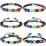 7 Chakra Bracelets - Meditation Beads with Leather Band / Lava Stone