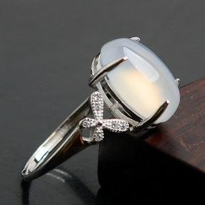 Vintage Silver Agate Ring for Women Fashion Bohemian Boho Jewelry 2019 New Hot Chalcedony Ring