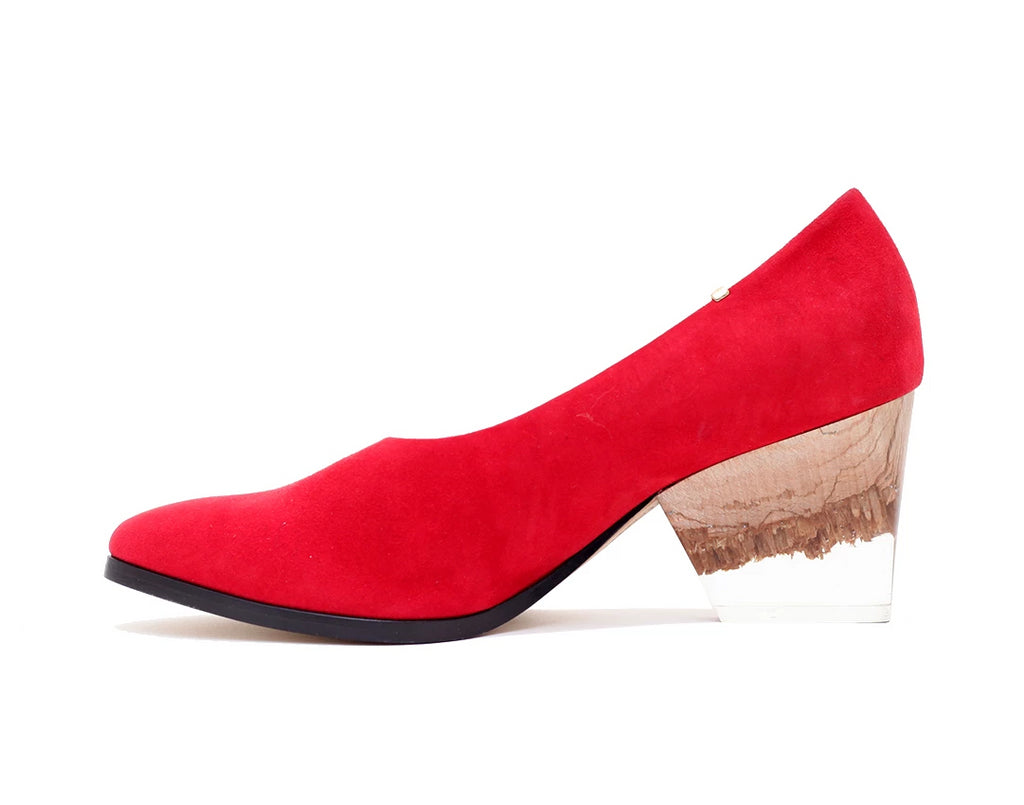Bayou Heel Red Suede and Broken Plexi Heel