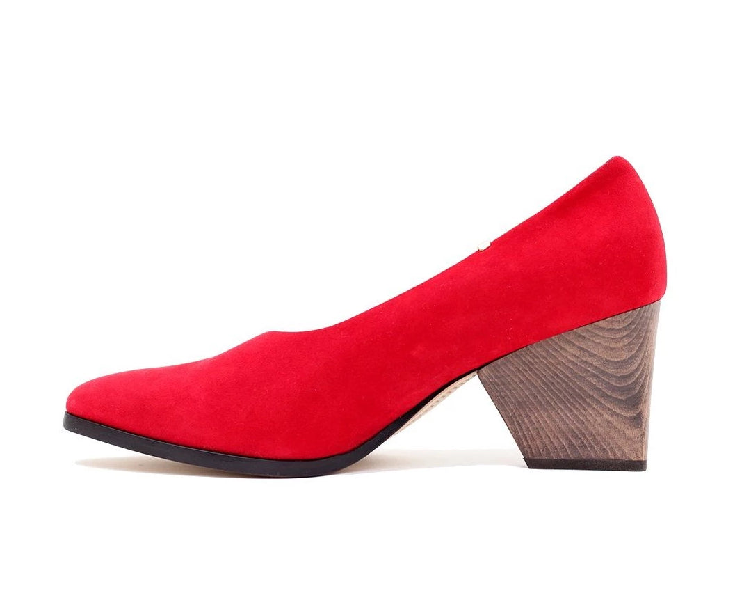Bayou Heel Red Suede and Solid Wood