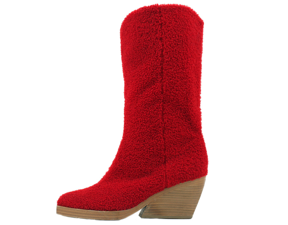 Boy Shearling Boot Red