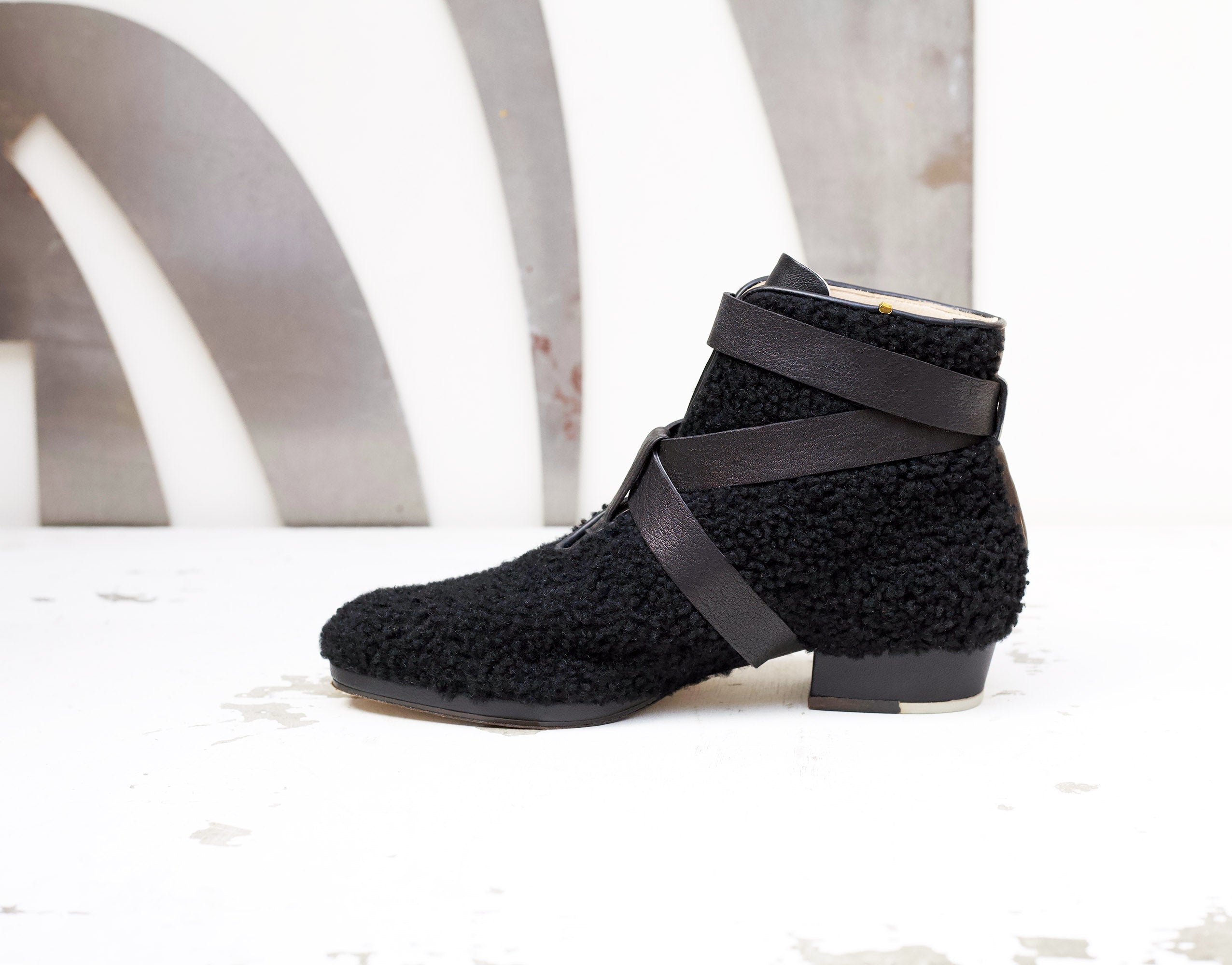 Zac Shearling Strapped Boot Black